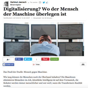 """<small><em>20. Oktober 2016: Huffington Post</em></small><br/>""""Digitalisierung? Wo der Mensch der Maschine überlegen ist"""""""