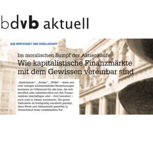 <small><em> 11. Januar 2018: Bundesverband Deutscher Volks- und Betriebswirte</em></small><br/>Wie kapitalistische Finanzmärkte mit dem Gewissen vereinbar sind