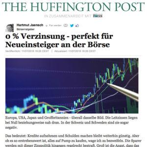 <small><em>11. Juli 2016: Huffington Post</em></small><br/>0 % Verzinsung – perfekt für Neueinsteiger an der Börse