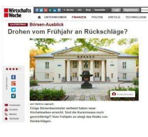 <small><em>27. Februar 2017: WirtschaftsWoche</em></small><br/>Börsen-Ausblick: Drohen vom Frühjahr an Rückschläge?